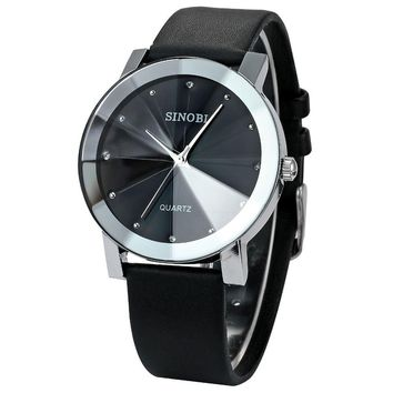 SINOBI brand luxury diamond fashion minimalist leather ladies watch