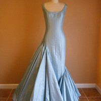Formal Gown, Wedding Gown, Asymetrical, Silk, Mermaid Gown in Ice Blue. Custom Made, More Colors Available. Sizes 2-20