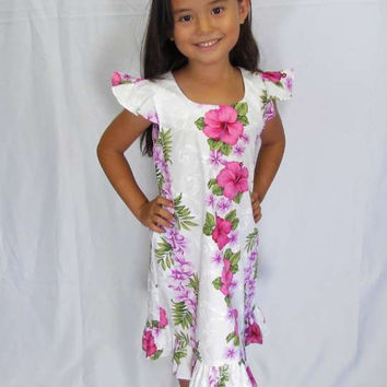 Girl Hawaiian Dress Big Island White Pink