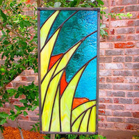 TECHNICOLOR PRAIRIE Organic Modern stained glass panel