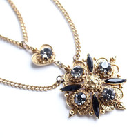 Vintage Florenza Necklace -  Gold Tone Black & Gray Rhinestone Victorian Revival Costume Jewelry / Designer Double Strand