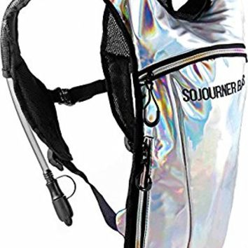 SoJourner Rave Hydration Pack Backpack - 2L Water Bladder included for festivals, raves, hiking, biking, climbing, running and more (multiple styles)