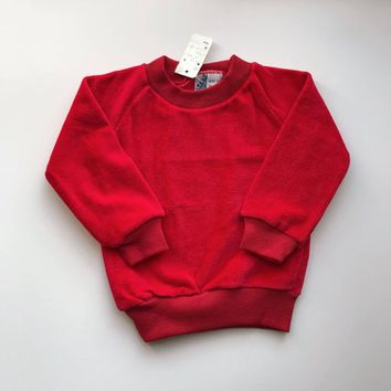 Toddlers Velour Sweatshirt, vintage sweatshirt, gils boys sweater, vintage childrens clothes, red new with tags / 18 months - 24 months