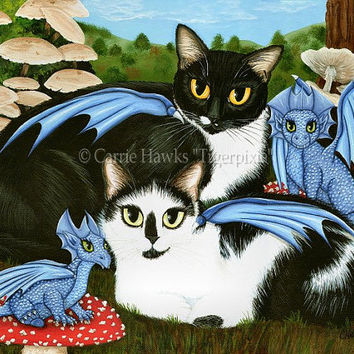 Cat Art Dragons Tuxedo Cow Cats Blue Dragon Winged Cats Mushrooms Fantasy Cat Art ACEO / ATC Mini Print Cat Lover Gift