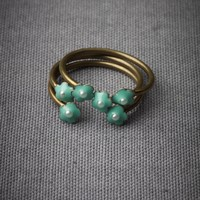 Sweet Sextet Stacking Rings in Teal Turquoise in  SHOP Shoes  Accessories Jewelry at BHLDN