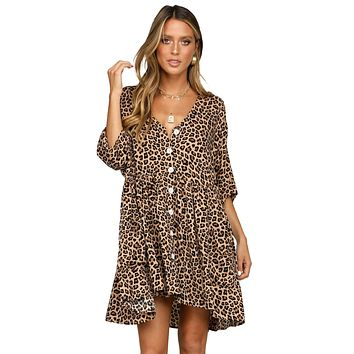 Leopard Print Button Half Sleeves Swing Dress