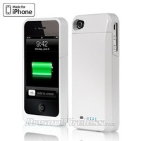 WHITE LUXMO MAXBOOST BATTERY CHARGER POWER CASE SCREEN PROTECTOR FOR iPHONE 4 4G