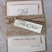 Rustic Lace Wedding Invitation, Lace Wedding Invitation,Vintage wedding Invitation