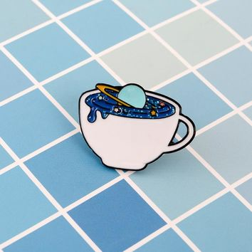 Cartoon cup pin Infiltrated blue water droplets Hiding the planet brooch Exploration of outer space is endless for friend gift