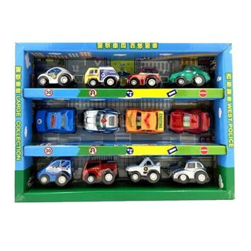 Set of 12 Mini Pull-Back Car Vehicle Toy Models for Kids, Police Car Style