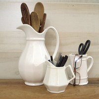 Pfaltzgraff Heritage White Pitcher, Bright White Ceramic Pitcher, Small White Milk Pitcher, Pfaltzgraff Creamer Pitcher