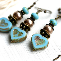 Turquoise Blue Heart Jewelry set, Valentine's day gift, Romantic Jewelry, Blue Heart Earrings, Beaded Glass Necklace, by MayaHoney