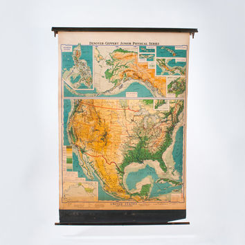 """1930s Pull Down Vintage Map, Denoyer Geppert, United States And Possessions, Junior Physical Series, Wall Hanging, Educational, 66"""" x 48"""""""