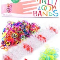 Infinity Loom Bands Deluxe Kit - 600 Silicone Bands with 28 S/C Clips - BONUS 100 Glow in the Dark Bands and Other Accessories - Better Than Rubber Bands - Crazy Colorful Tie Dye Rainbow Charms Bracelet Maker for Kids - Latex Free Bands for Weaving, Perfec