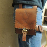 Brown leather Adventure pouch utility pouch / leg pouch / belt pouch / thigh pouch / thigh bag / pirate pouch