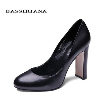 BASSIRIANA pumps 2016 high heels shoes woman Genuine leather Big size 35-40 Round toe Balck and Brown colors Free shipping
