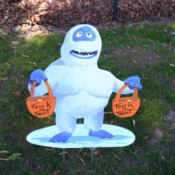 Halloween trick or treat snowman lawn stake yard art