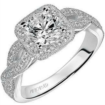 "Artcarved ""Lizbeth"" Halo Twist Split Shank Diamond Engagement Ring"