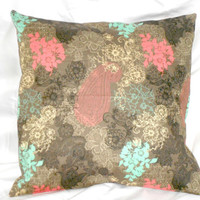 Brown and Blue Pillow Cover Pink Floral 16 X16 inch