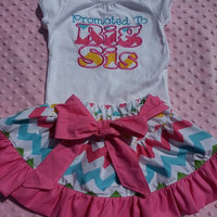 Promoted to Big Sister Shirt with Matching Chevron Ruffle Skirt
