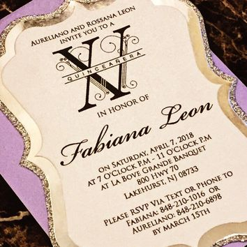Quinceanera Invitation - Silver Glitter and Foil Quince Invitation - FABIANA VERSION