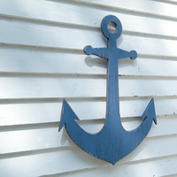 Beach Anchor Sign Wooden Anchor Indoor Outdoor Beach Coastal Wall Decor