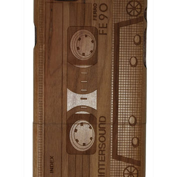 Cassette tape design print Iphone 5 /5s/ 6 wooden engraved bamboo phone case cover