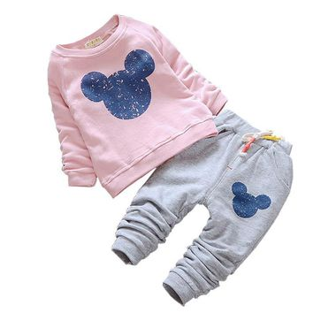 Fashion Baby Girls Clothes Autumn Baby Clothing Sets Cartoon Printing Sweatshirts+Casual Pants 2Pcs for Baby Kids Clothes