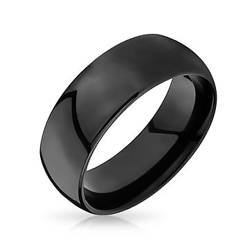 Plain Simple Dome Black Couples Wedding Band Tungsten Rings 8mm