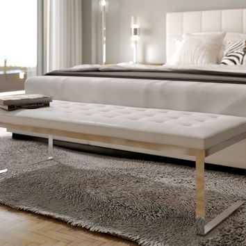 Savina Contemporary Bench White : modani sectional - Sectionals, Sofas & Couches