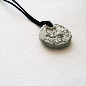 Aromatherapy Essential Oil Diffuser Jewelry Ceramic Pottery Light Teal Dove Necklace Pendant