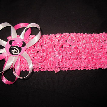 Personalized Minnie Mouse Themed Hairbow With Crochet Headband By Sweetpeas Bows & More