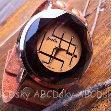 Mens Wrist Watchmens leather watch unisex leather by ABCDsky