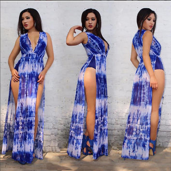 Blue and White High Cut Sides V-Neck Maxi Dress
