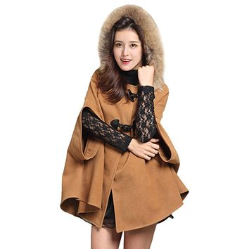 Partiss Womens Wool Breasted Fur Hooded Coat Batwing Sleeve Poncho Cape Coat