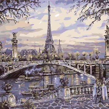 Canvas Painting Paris Street DIY Painting By Numbers Handpainted Home Wall Art Picture For Living Room Unique Gift