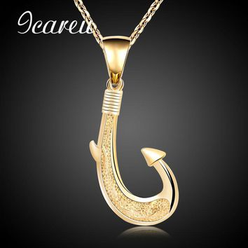Fishing Enthusiasts Simple Fish Hook Necklace Gold Color Stainless Steel Hook Pendants & Chain For Men/Women Fashion Jewelry