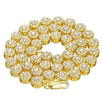 """Jewelry Kay style Men's Fashion Flower Iced Out 10 mm 36"""" CZ Stoned 14K Gold Plated Chain Necklace"""