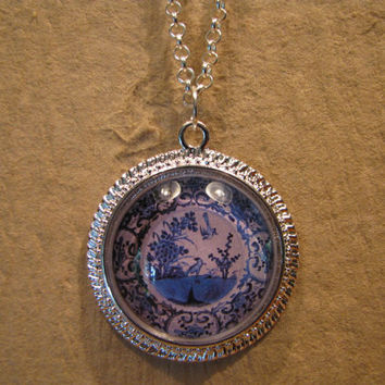 "Large Blue and White Bird Pattern Porcelain Plate Domed Cabochon Silver Finish Pendant with 20"" Snake Chain or 24"" Oval Link Chain"