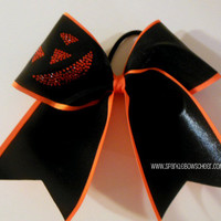 Rhinestone Pumpkin Face Large Cheer Bow Hair by SparkleBowsCheer