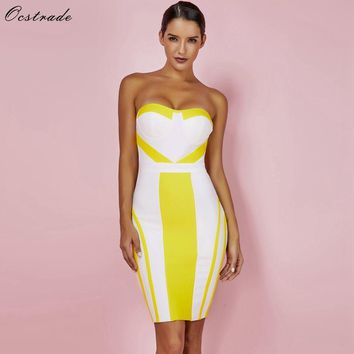 Ocstrade Summer Bandage Dresses Party New Strapless Sexy Bandage Dress Yellow Bodycon Womens Mini Bandage Dress Rayon XL
