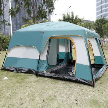 8-Person 2-Bedroom 1-Living Room Camping Tent with Rainfly
