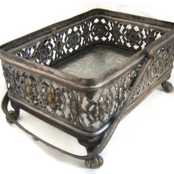 Vintage rectangular footed brass candy dish ,with handle ,embossed flowers ,filigree ,1950s frosted glass ,brass home decor ,brass decor