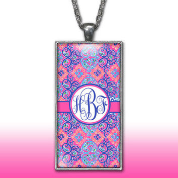Damask Monogram Pendant Charm Necklace Purple Coral Pink Personalized Custom Initial Necklace Monogram Jewelry