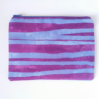 Horizontal Striped Blue & Purple Lined Zipper Pouch 100% Cotton