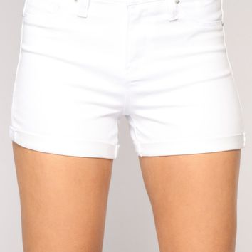 No More Trouble High Rise Shorts - White