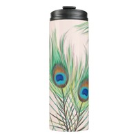 Beautiful Unique Peacock Feathers Pattern Thermal Tumbler