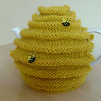 Hand knitted honey pot and bee teapot cozy.  tea cosy