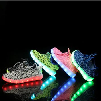 New Fashion Light Up Kids Led Shoes Luminous Girl Boys Shoes Glowing Sneakers Casual W