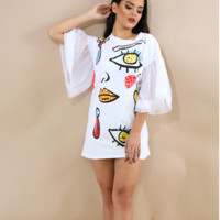 Tulle Bell Sleeve Eye Design Shirt Dress White
